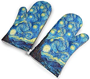 KEIOO The Starry Night Van Gogh Oven Mitts Heat Resistant Oven Gloves,Non-Slip Cooking Kitchen Oven Mitts for Baking BBQ,1Pair