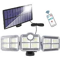 Zonnelampen voor buiten, met bewegingsmelder, 122 leds, 1200 lumen, zonnelamp met afstandsbediening, 270 graden…