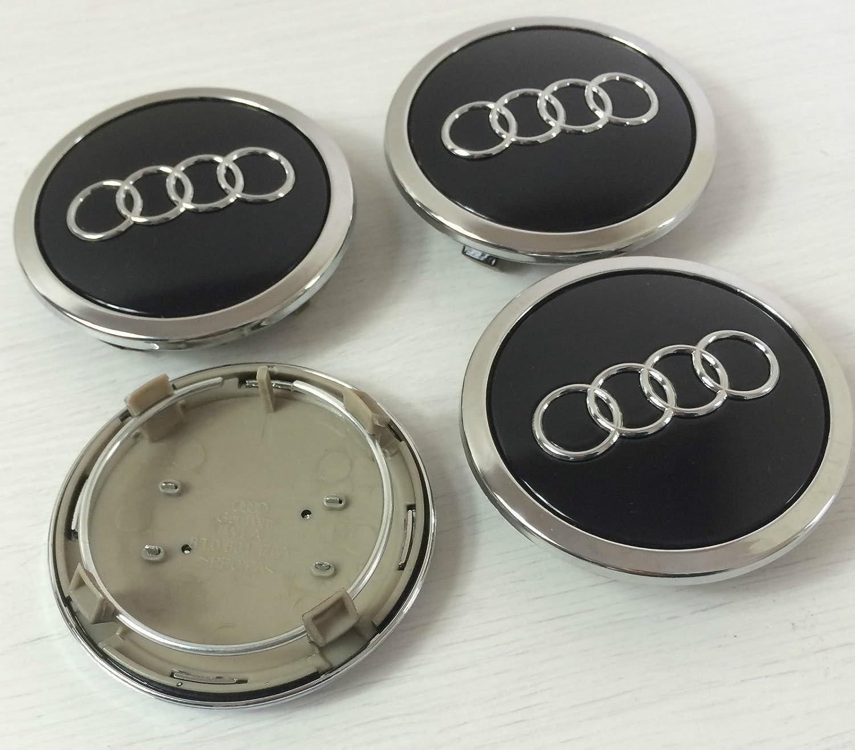 Juego de chapas de 4 Audi aleación rueda central tapacubos negro 69 mm 4B0601170 A S3 S4 A2 A3 A4 A6 A8 TT, RS4, Q5, Q7, S3 S4 S6 RS6 TT S ...