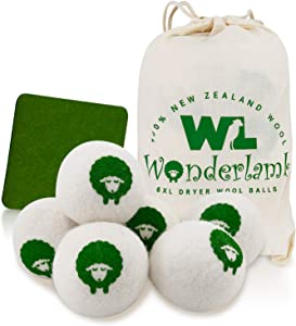 Wonderlamb Wool Dryer Balls Organic 6 Packs XL -Reusable Fabric Softener for Laundry, Anti-Static, Liquid Softener and Dryer Sheets Replacement - Unscented and Baby Safe
