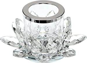OwnMy 5.2 Inch Clear Crystal Lotus Candle Tealight Holder Candlestick, Glass Votive Candle Lamps Holder Night Light Candlestick with Gift Box for Altar Windowsill Home Decor Christmas Wedding Party