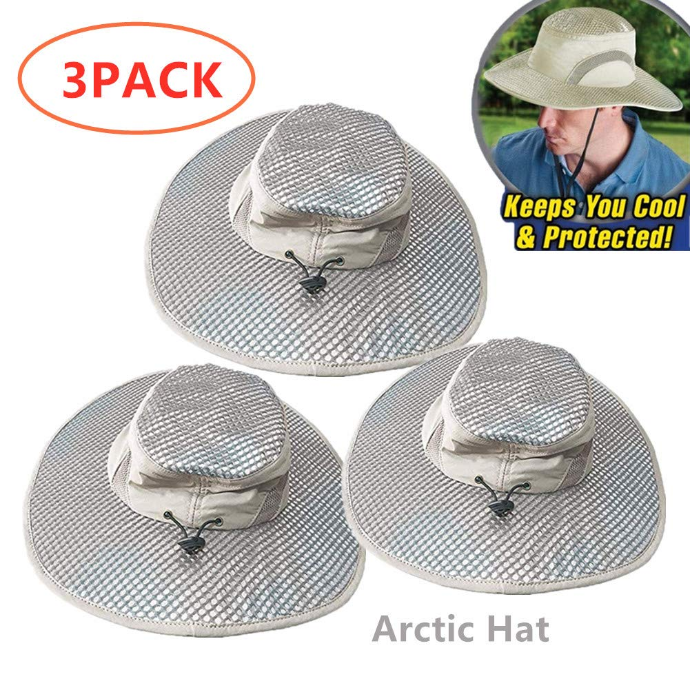 3PACK Summer Sun Hat Arctic Hat Wide Brim Cap, Outdoor Sunscreen Cooling Air Conditioning Cap Ice Cap for Women Men