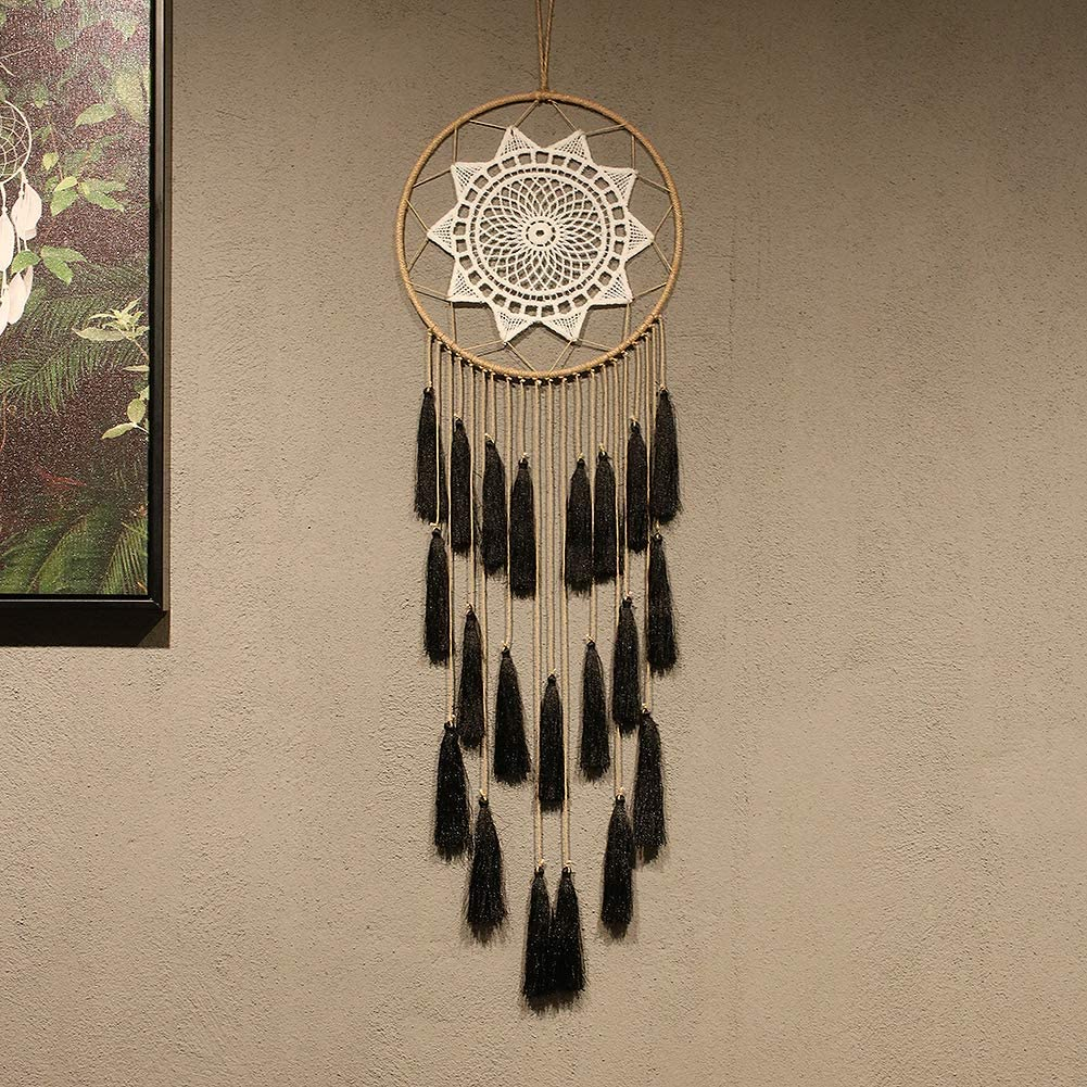Macrame Dream Catchers for Bedroom - Tassel Wall Hanging Handmade Dreamcatchers Home Decor with Tassel Feather Ornament Craft Blessing Gift (Black)