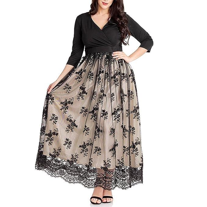 TANGFUTI Women\'s Plus Size 3/4 Sleeves Evening Gown Party Long Maxi Dress