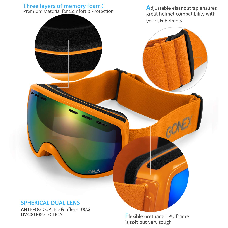 a7b6688a2660 Gonex Kids Ski Goggles Anti Fog Snow Board Goggoles for Youth Children  Toddler (Orange Frame Colored Lens)