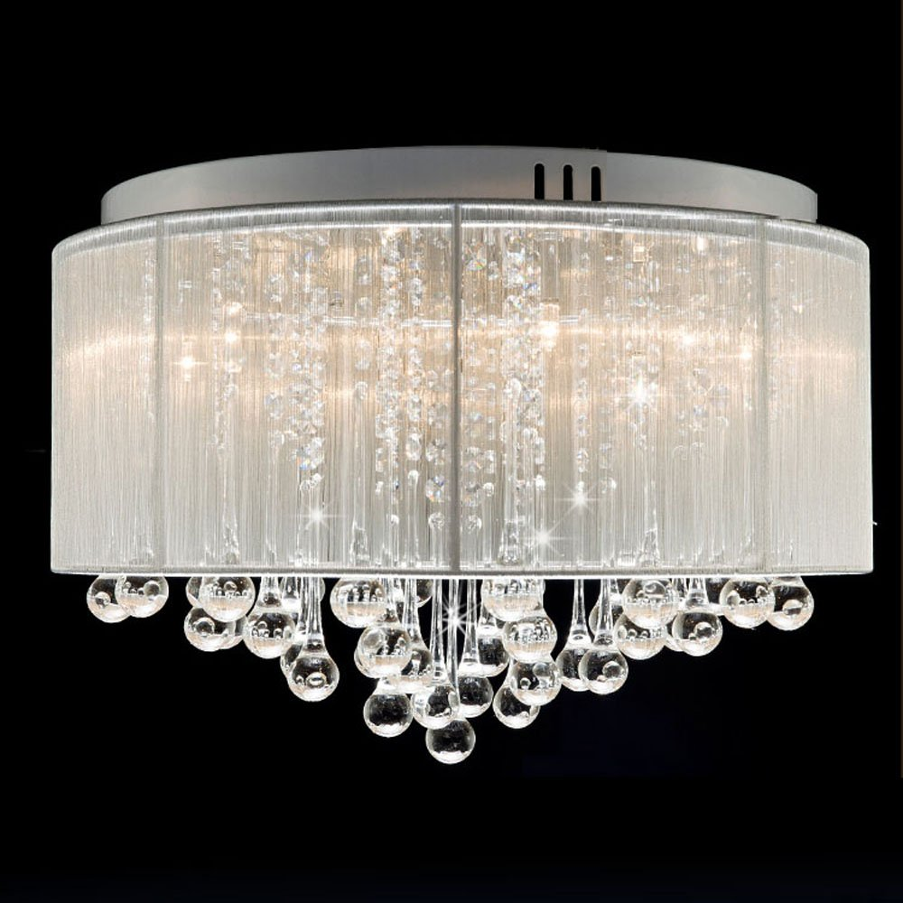 DINGGU™ Flush Mounted Luxury Contemporary Drum Ceiling Chandelier Light Fixtures with Cylinder Lamp Shade for Bedroom