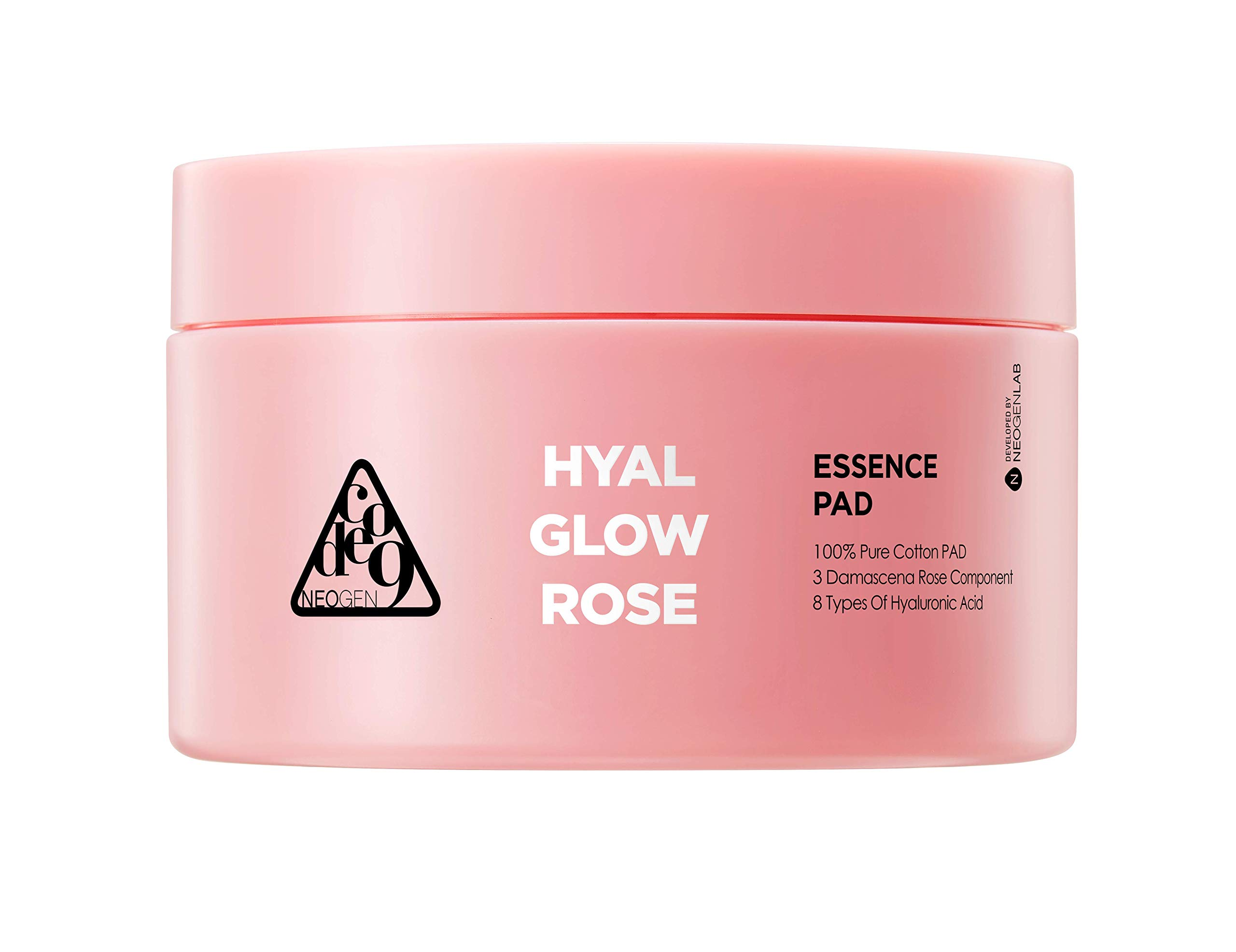 NEOGEN CODE9 Hyal Glow Rose Daily Essence Pads - Powerful Rosen Cream, Rose Flower Water 74%, Hyaluronic Acid Complex, 70 Pads, 4.56 oz