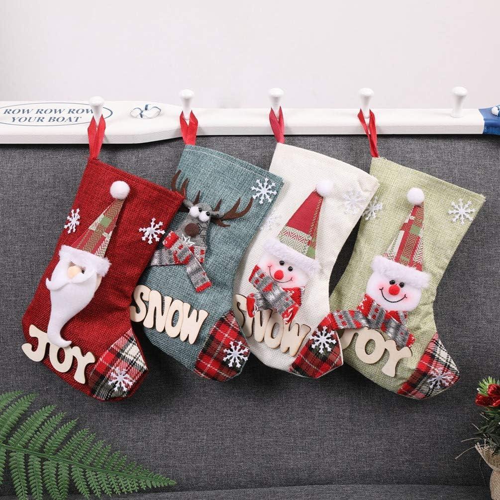 Topanke Calcetines Navidad Decoracion Medias de Navidad diseño de Papá Noel, Reno, Chimenea Calcetines, Felpa 3D, para Decoraciones de Navidad, Suministros de Fiesta(23 * 15 cm)