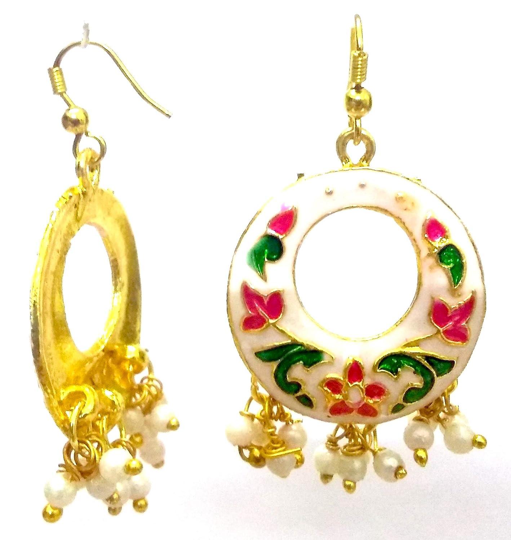 DESI HAWKER Meenakari Minakari Enamel Paint Golden Handmade Earring Bali Jhumki Jhumka Jewelry Ethnic Drop Dangle Afghani Chandbali NI-272