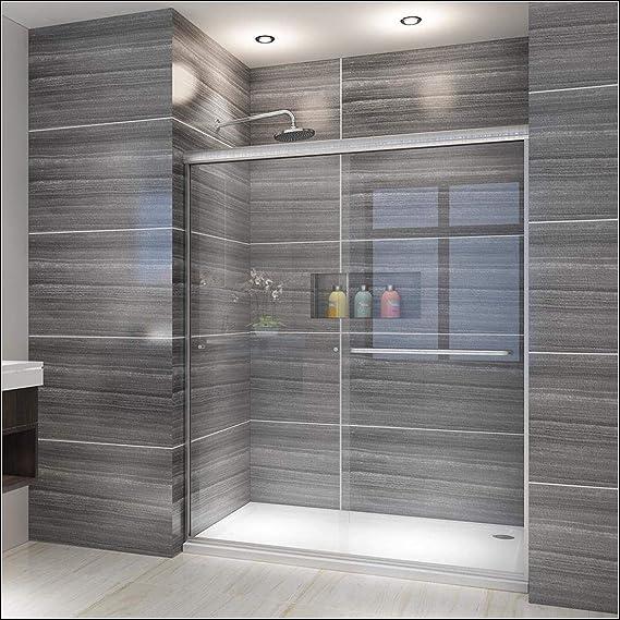 Elegant Showers 58 5 60 W X 72 H Semi Frameless Bypass Sliding Shower Doors 1 4 Clear Glass Brushed Nickel Finish