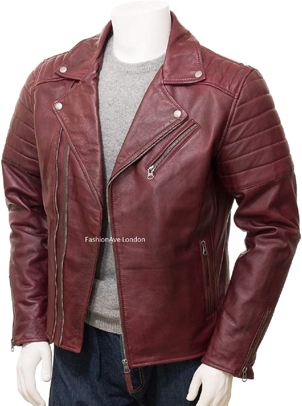 FashionAve London Mens Solid Red Fitted Biker Jacket 100/% Real Leather