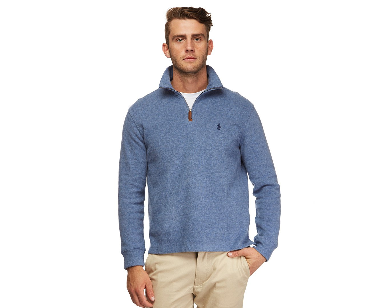 Polo Ralph Lauren Men's Half Zip French Rib Cotton Sweater (M,  Lt Blue/Navy Pony)