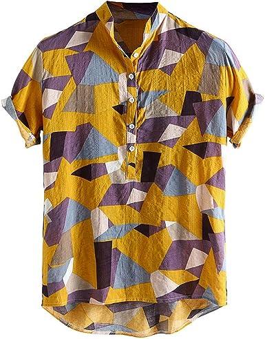 CAOQAO Camisa Hombre Verano Color Hit Collar del Soporte Manga Corta Camisas Respirables Flojas Ocasionales: Amazon.es: Ropa y accesorios