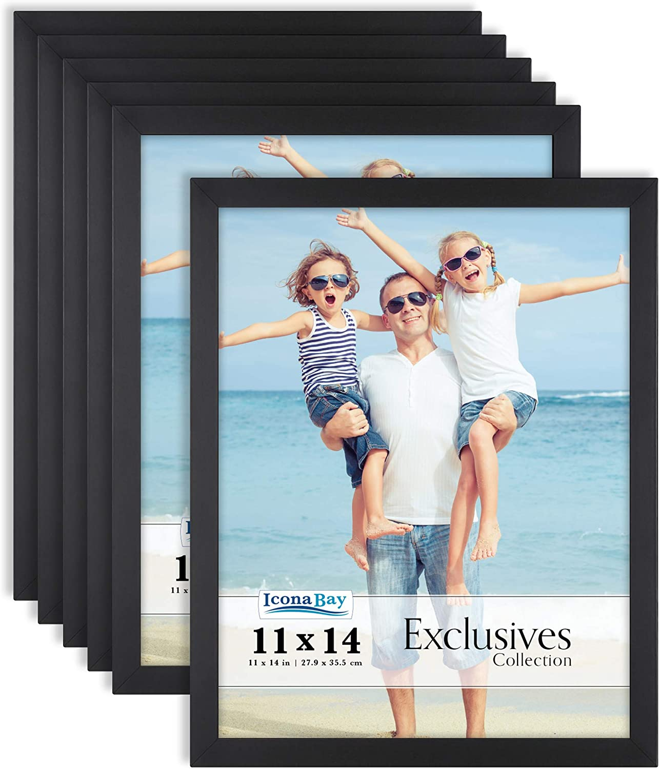 Icona Bay 11x14 Picture Frames (Black, 6 Pack), Sturdy Wood Composite Photo Frames 11 x 14, Sleek Design, Table Top or Wall Mount, Exclusives Collection