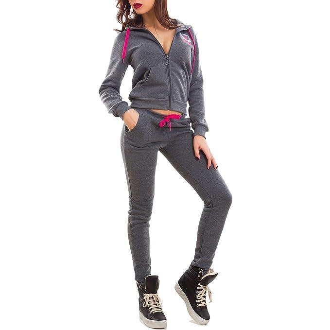check out bb90e 4a8a8 Toocool - Tuta Donna Completo Pantaloni Fitness Cappuccio Scritte Sport Zip  Nuova J906