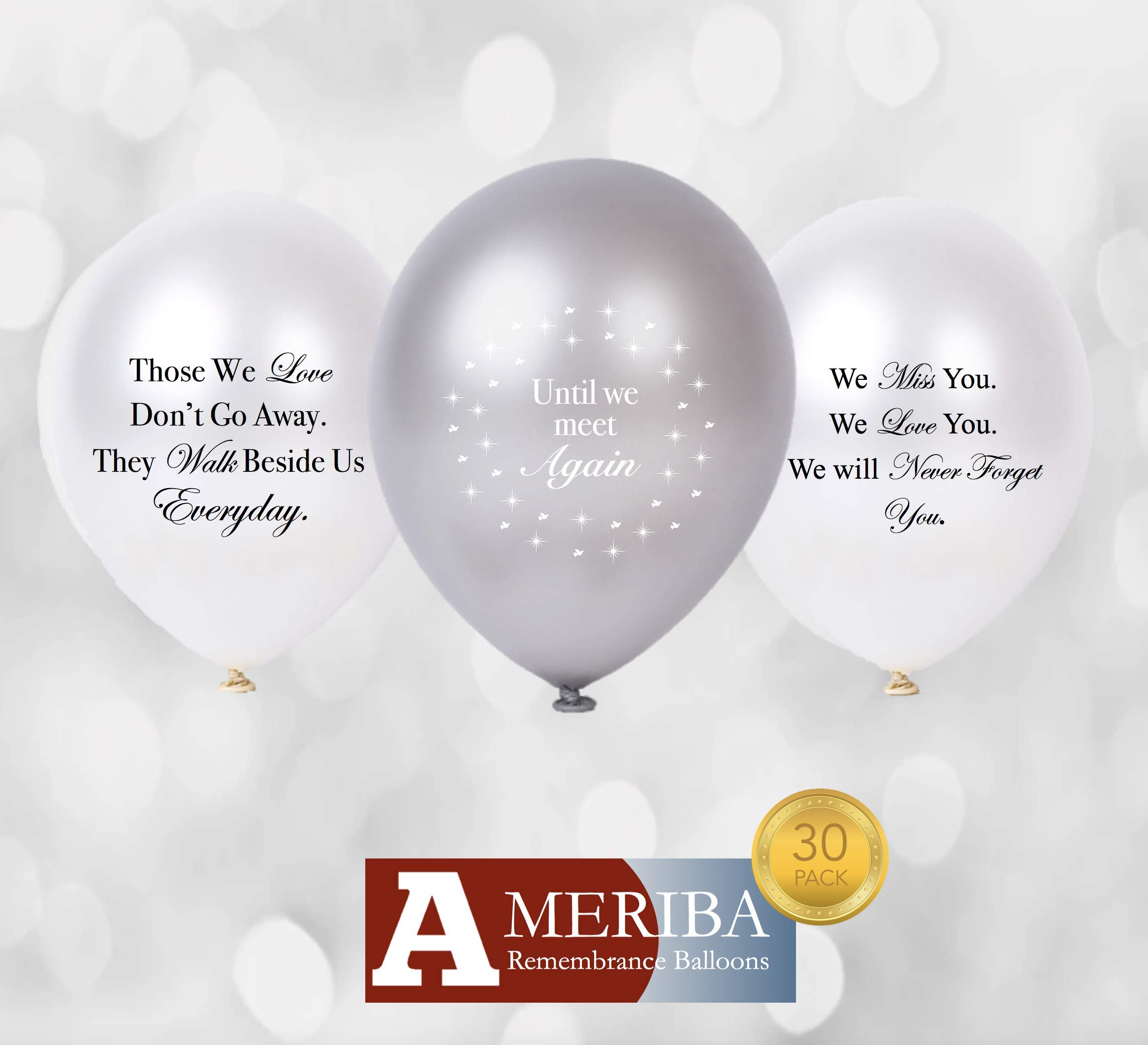 Biodegradable Remembrance Balloons: 30pc White & Silver Funeral Personalizable Balloons for Balloon Releases & Sympathy Gifts | Created/Sold by AMERIBA, a USA company (Variety Pk, Black/White Writing)