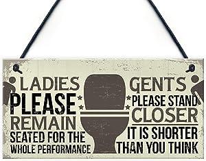 Meijiafei Bathroom Signs Toilet Door Wall Plaques Men Ladies Shabby Chic Home Decor Gift 10
