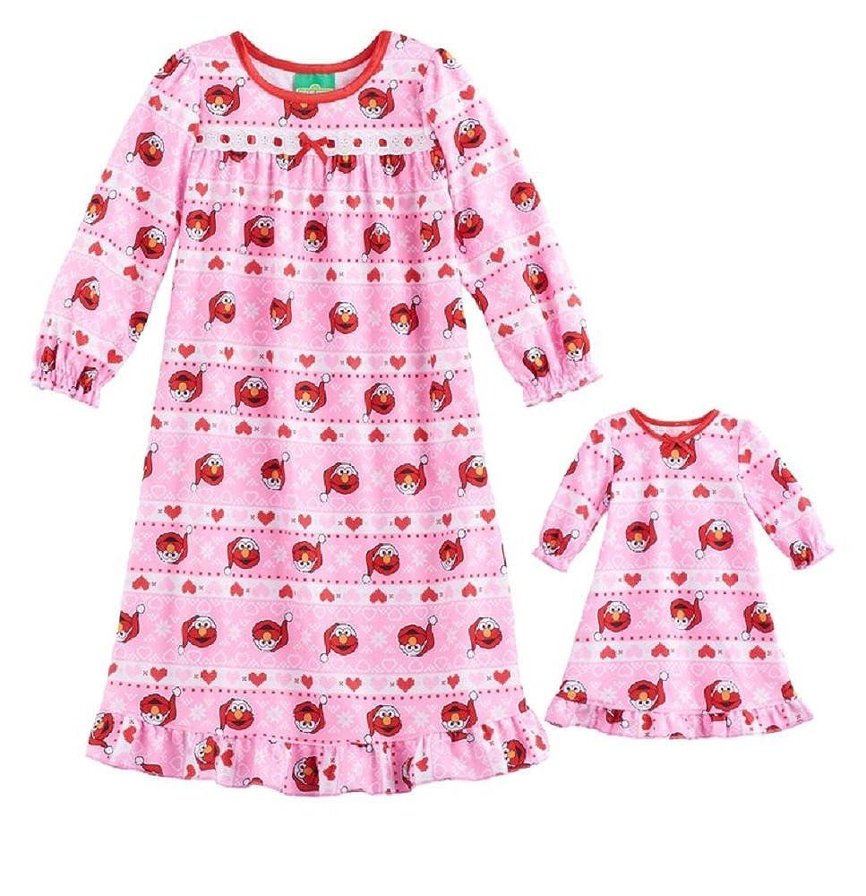 AME Sesame Street Toddler Girls Elmo Santa Hat Ruffled Nightgown & Doll Dress Set, Multi