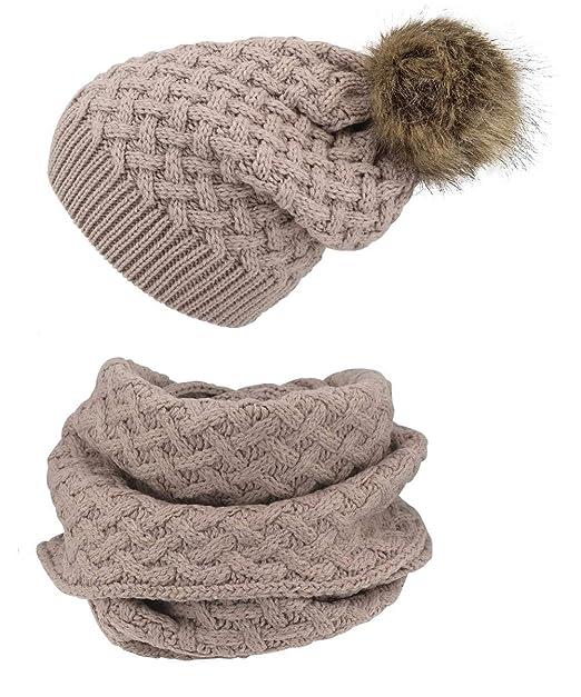 6f477add7c6aa4 Hilltop Winter Kombi Set in inverno sciarpa e berretto in maglia/berretto  con pompon/diversi Motivi 3c-hellrosa taglia unica: Amazon.it: Abbigliamento