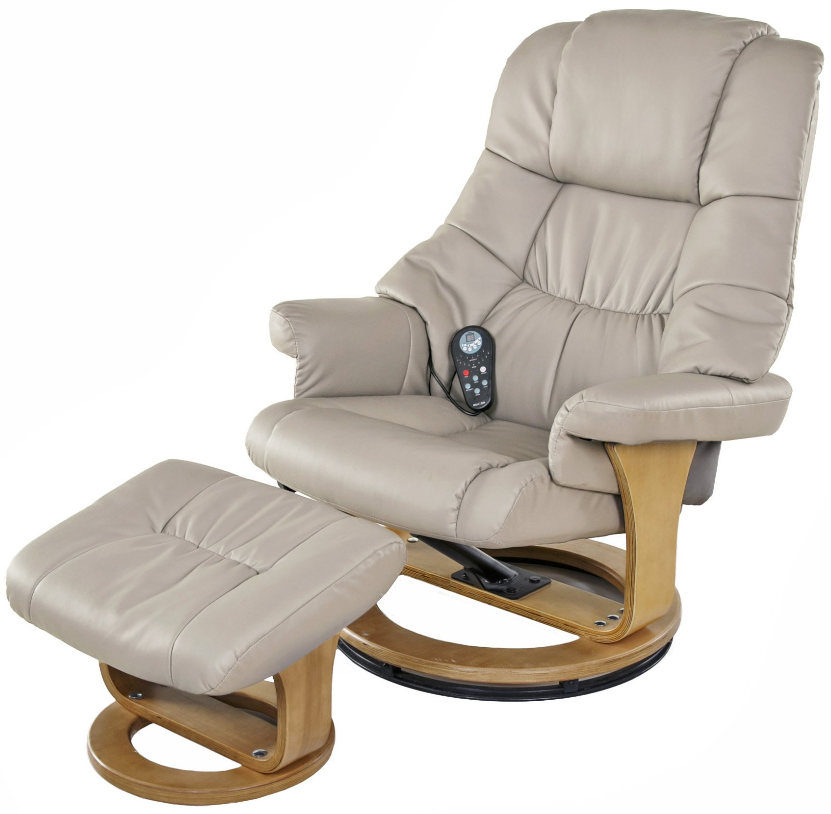 Relaxzen 8 Motor Massage Recliner with Heat and Ottoman, Beige and Wood Base by Relaxzen