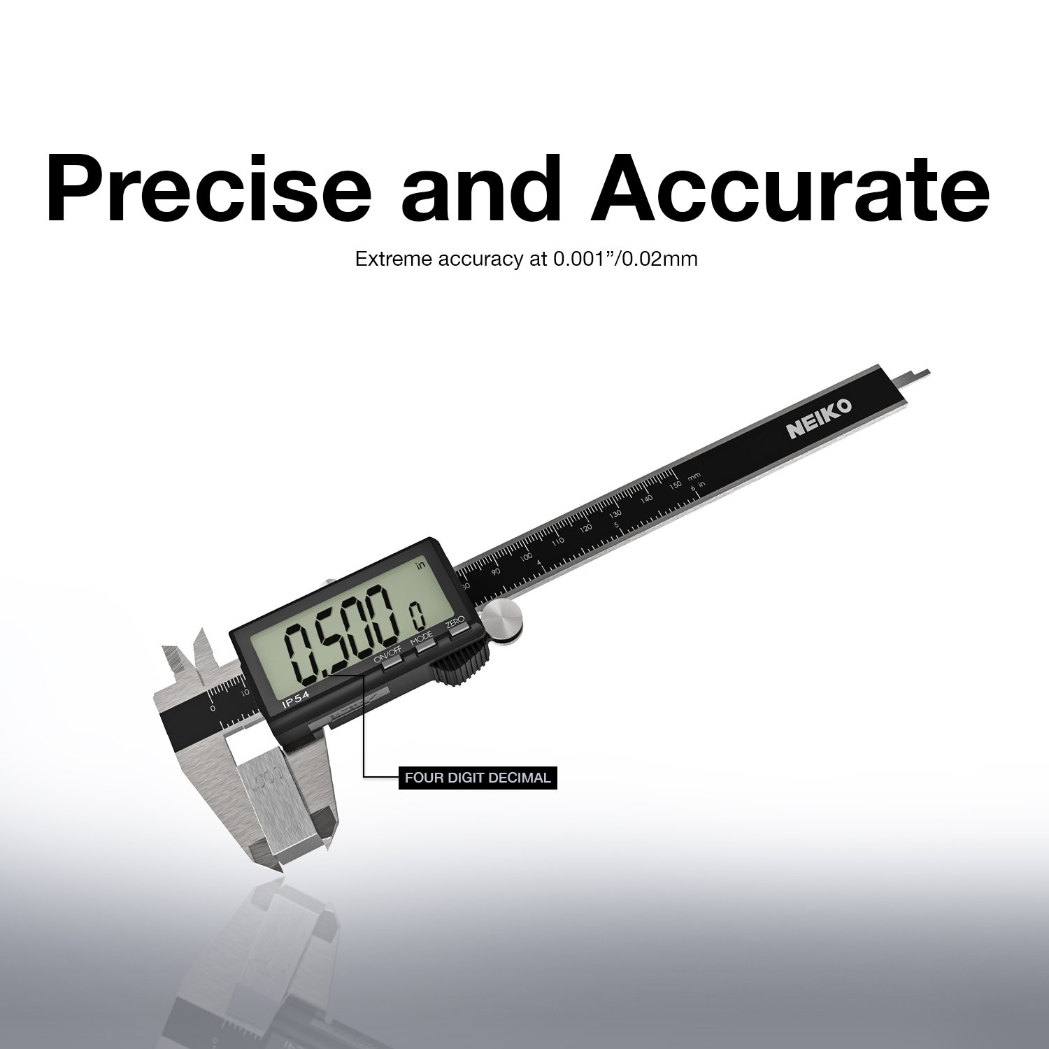 0-6 Inches Inch//Fractions//Millimeter Conversion Neiko 01407A Electronic Digital Caliper Stainless Steel Body with Large LCD Screen