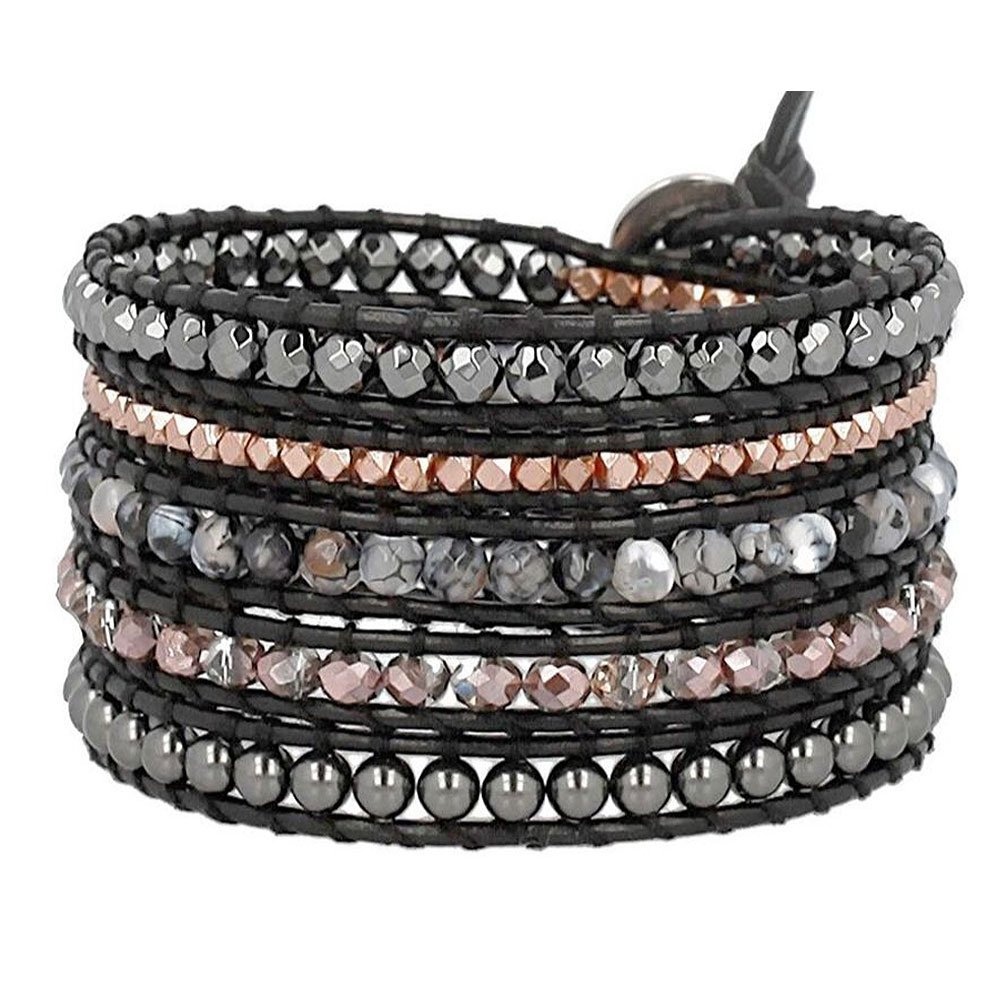 Chan Luu Black Agate Mix Wrap Bracelet on Black Leather
