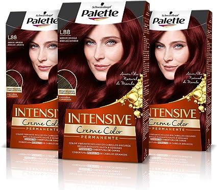 Schwarzkopf Palette Intensive Creme Color – Tono L88 cabello Burdeos Luminoso (Pack de 3) - Coloración Permanente de Cuidado con Aceite de Marula, ...
