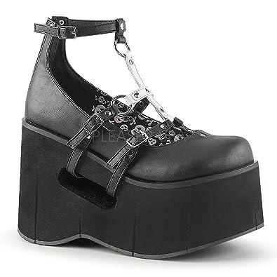 54a9e3d61e47 Demonia Women s KERA-09 Platform T-Strap Mary Jane Shoe Black 6