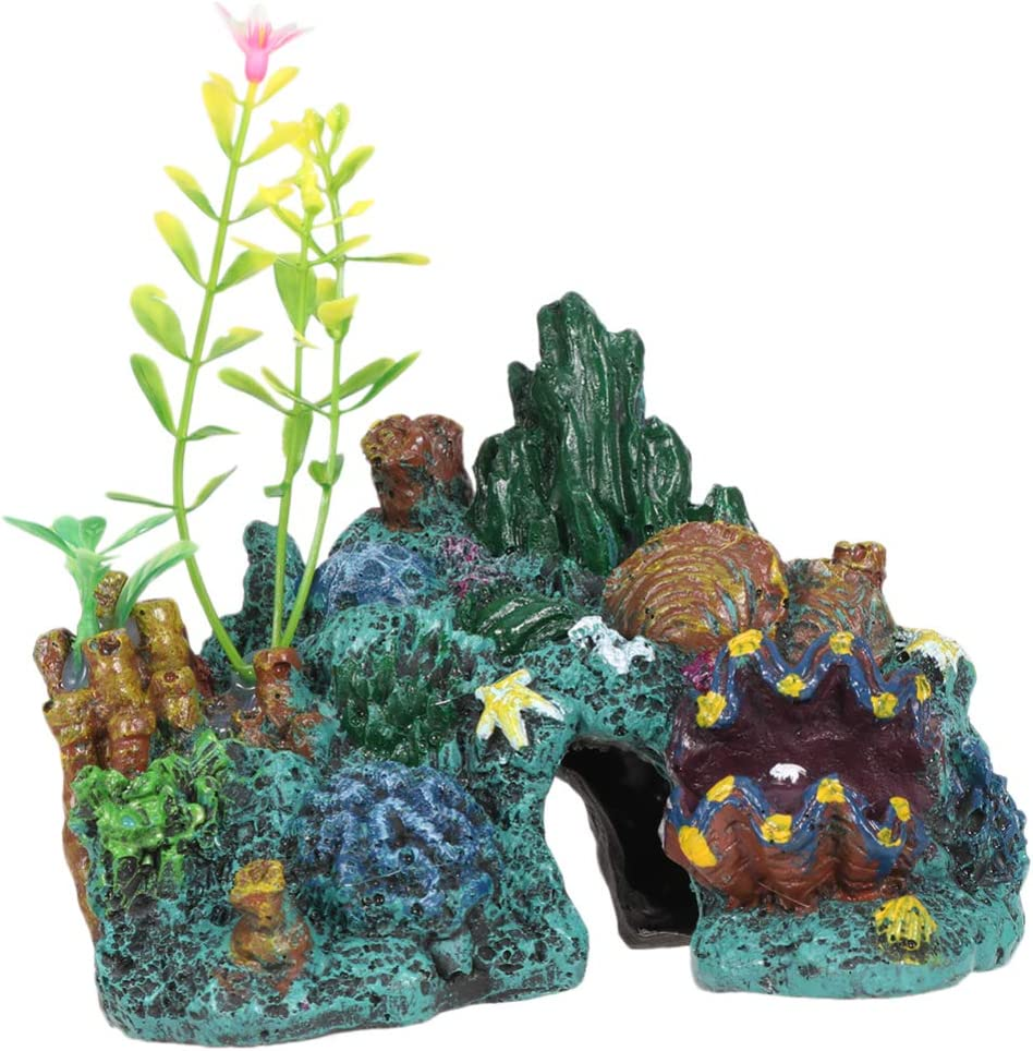 Balacoo Resin Coral Aquarium Ornaments Aquarium Sea Rock Cave Coral Fish Habitat Reef Landscape Mountain Fish Tank Decoration