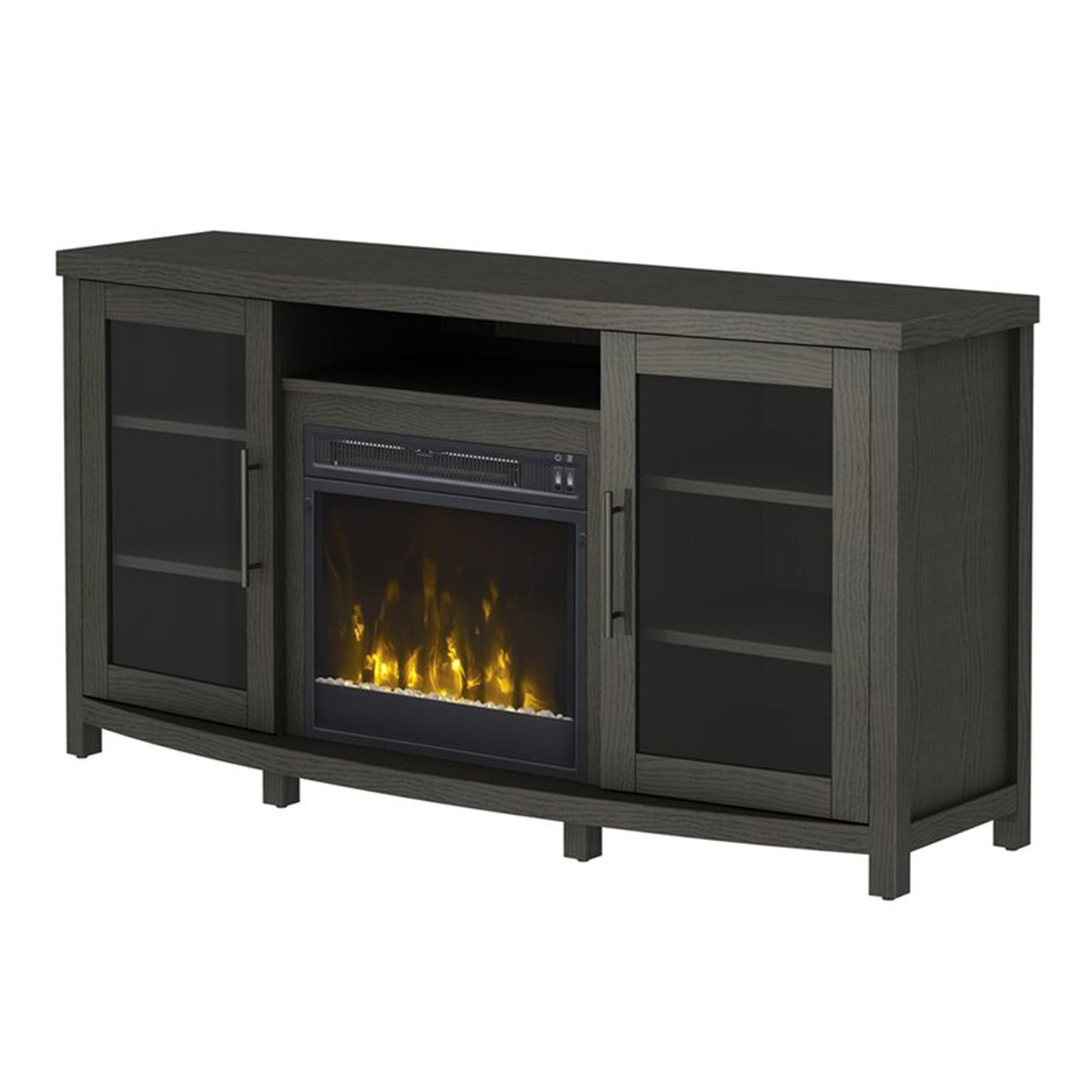 Fireplace TV Stand - Contemporary Electric Heater And Media Storage Cabinet - Vintage Style - Assembly required (Tifton Oak)