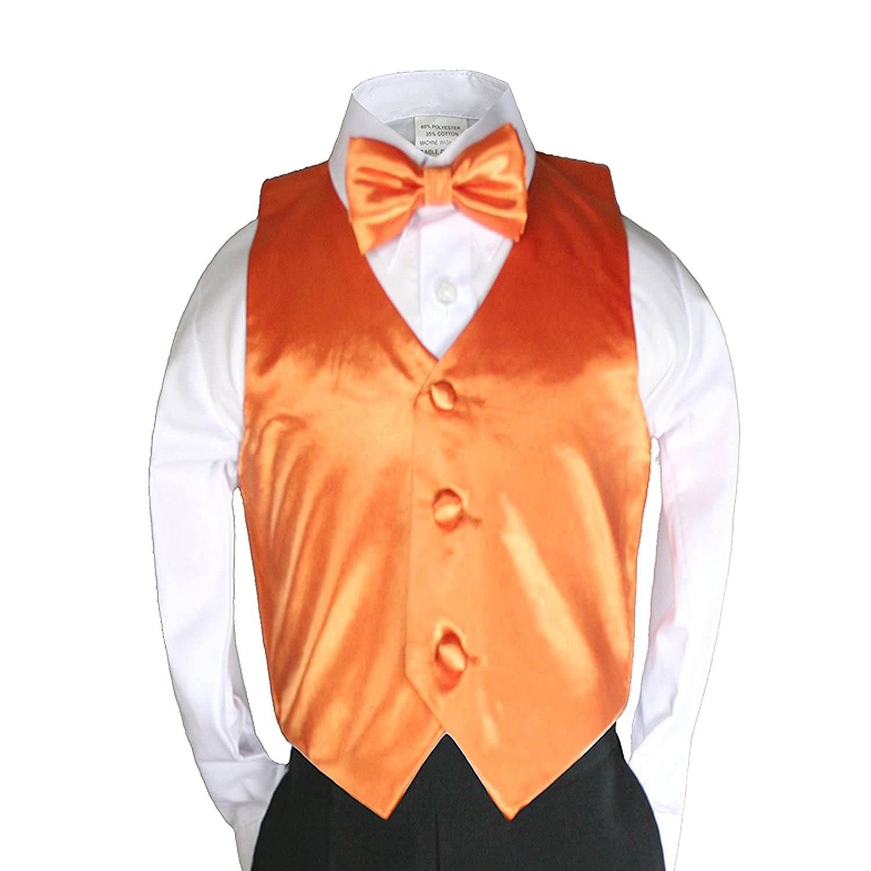 LONG NECK TIE for Boys Suit Tuxedo Sz 2T-14 infant Toddler /& Teen ORANGE VEST
