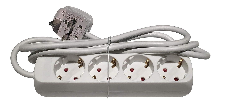 UK Euro adaptador de viaje adaptador alargador de 4 Ví as Schuko Sockets de tipo G con enchufe de Reino Unido UKTraveladaptors.com UKTAEuro4UK-040517