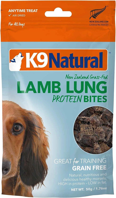 K9 Natural Grain-Free Air Dried Dog Treat Protein Bites, Lamb Lung 1.76oz