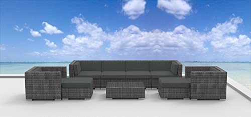 UrbanFurnishing.net 9a-Fiji-Charcoal 9 Piece Modern Patio Furniture Sofa Sectional Couch Set