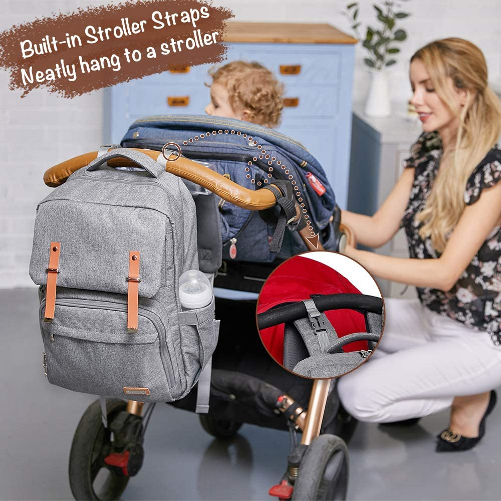 Grey Changing Bag Backpack RUVALINO Large Unisex Baby Bags for Boys and Girls Waterproof Nappy Back Pack Stylish for Mom and Dad with Changing Mat Stroller Straps