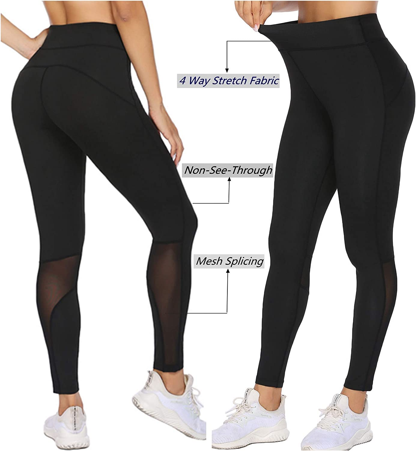ADOME Women High Waist Yoga Pants Workout Running Leggings Full-Length Athletic Tights