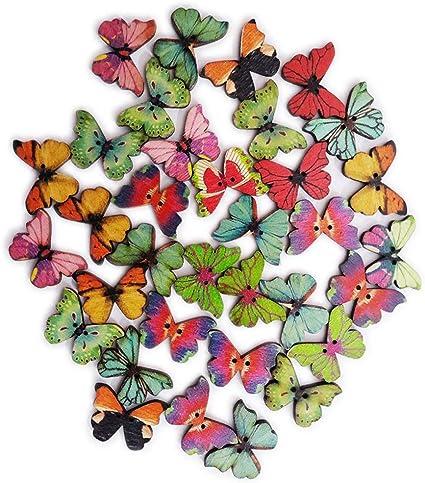 Papillon Imprimer 2 Trous Forme Papillon Boutons En Bois Boutons Chic Pour Couture Bricolage Scrapbooking Artisanat Fabrication De Bijoux Shabby Chic 50pcs Amazon Fr Fournitures De Bureau