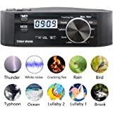 three sheep White Noise Machine 10 Nature Sound, Soothing Sound Machine for Sleeping, 10 Levels of Volume,Timer Function, Clock, Power by AA Batteries or Plug in(Black)