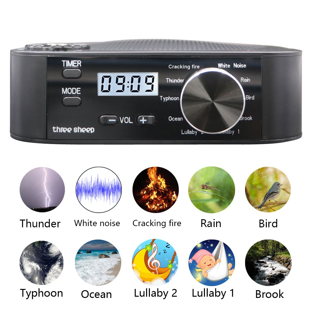 three sheep White Noise Machine 10 Nature Sound, Soothing Sound Machine for Sleeping, 10 Levels of Volume,Timer Function, Clock, Power by AA Batteries or Plug in(No Alarm Cloc)