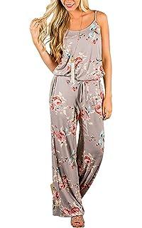 Combinaison Longue Femme Ete Boheme Hippie Chic Style Ethnique Salopette  Imprimée Fleurs Jumpsuit Rompers à… c3b77e02b66