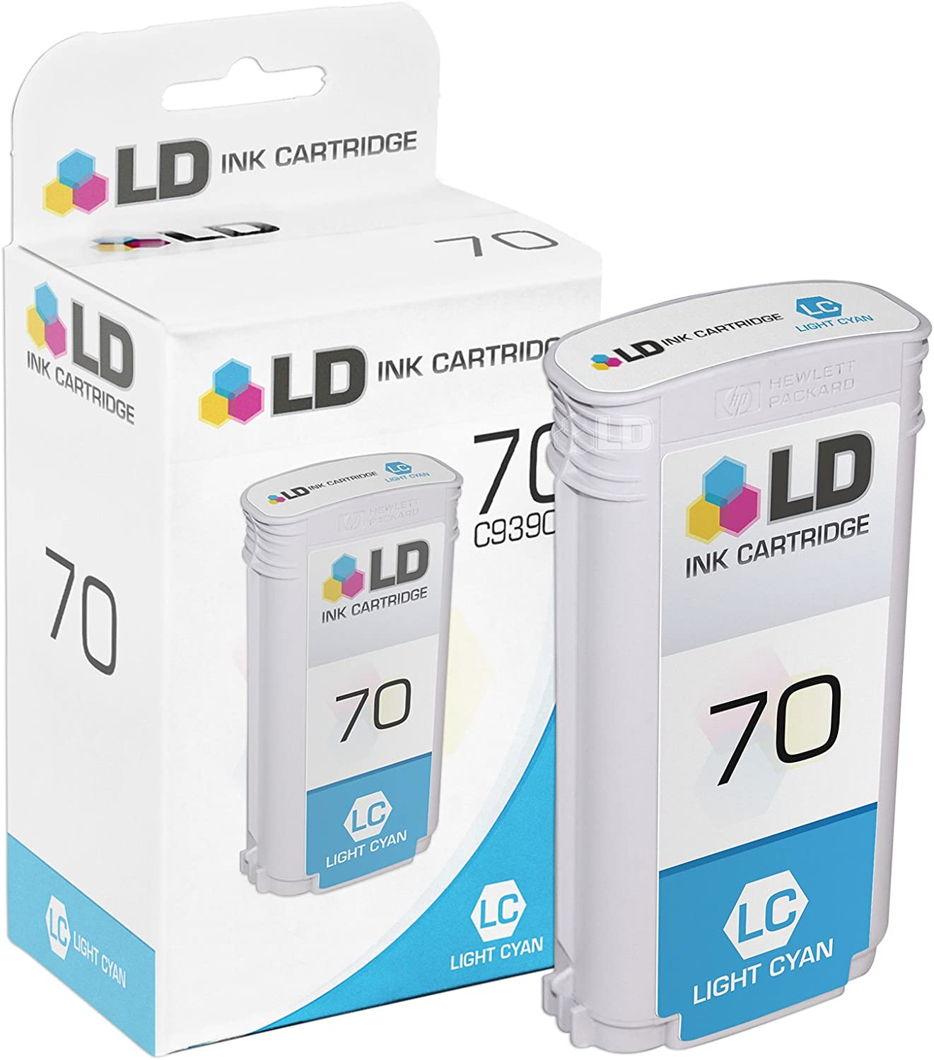 LD Remanufactured Ink Cartridge Replacement for HP 70 C9390A (Light Cyan)