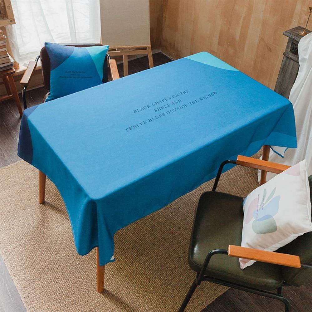 YuHengJin Mantel Lavable Rectangular Resistente Al Agua Casa Sencilla Moderna Fácil de Limpiar para Jardín Habitaciones decoración de Mesa Azul 100×140cm