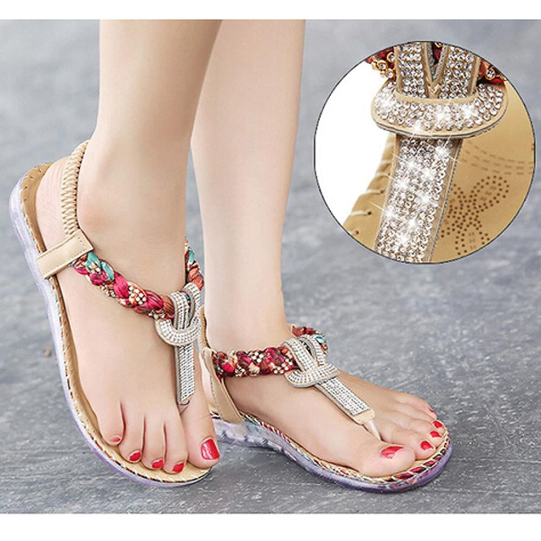 Koly Women Summer Sandals Rhinestone Bling Bling Flat Heel Shoes Flat Flip  Flop Shoes: Amazon.co.uk: Shoes & Bags