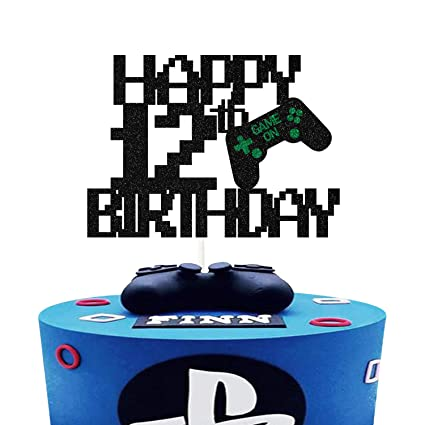 Game Controllers Happy Birthday Cake Decorations Picks for Kids Gaming Themed Birthday Party Video Game Cake Toppers