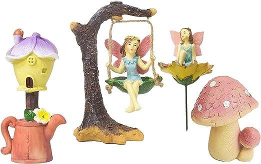 Jardín de hadas – Juego de 4 figuras de hadas en miniatura con accesorios, decoraciones de jardín para al aire libre, césped, y decoración del hogar: Amazon.es: Hogar