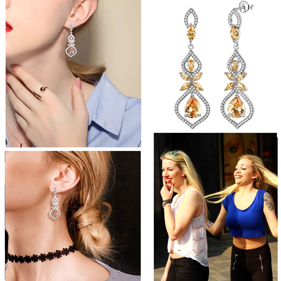 Aurora Tears Crystal Dangle Earrings Women Drop Earring Fashion Jewelry