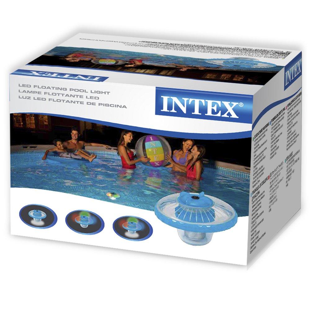 Intex 28690 Lampe LED Flottante de piscine Bleu Givr/é 16,8 x 16,8 x 12,4 cm