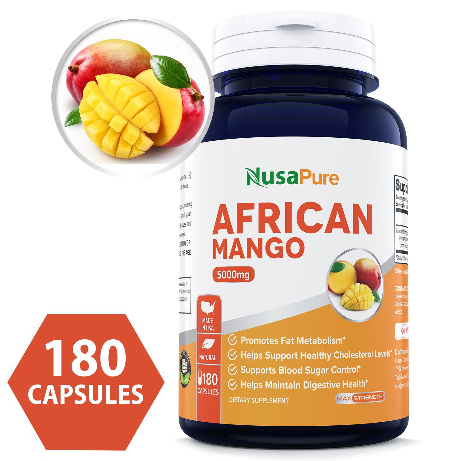 Best African Mango Cleanse 5000MG 180 Capsules (NON-GMO & Gluten Free) Pure 100% Fat Burner, Fast Weight Loss Diet Pills, Detox Drops Slim Prime - 100% Money Back Guarantee - Order Risk Free!