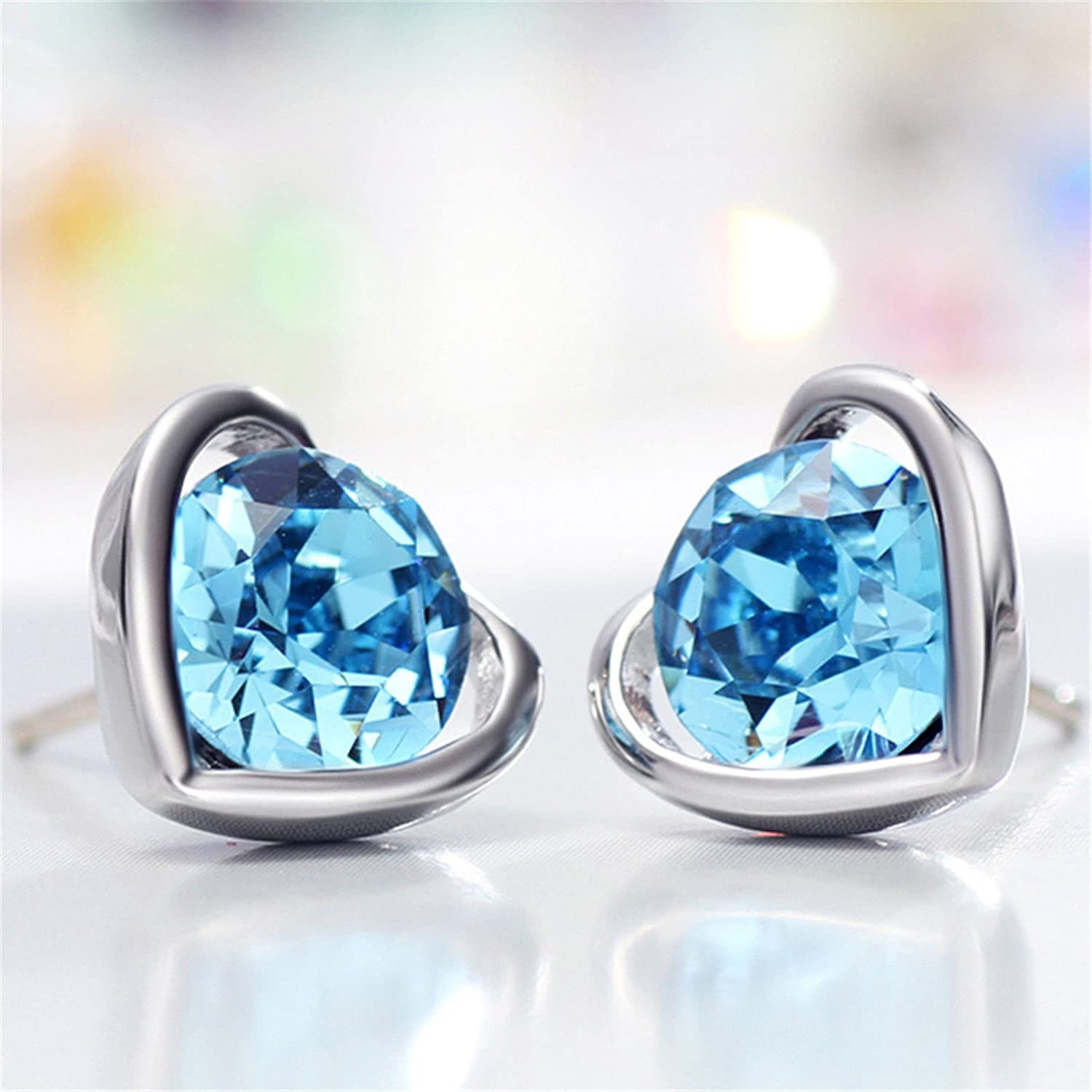 Neoglory Rhinestone Fashion Blue Love Heart Stud Earrings Jewelry for Women Girl Christmas Gifts