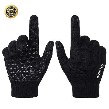 82689cbcff7e3f Ksnrang Winter Touchscreen Warme Handschuhe für Damen Herren Thermo Strick  Wolle Gefüttert (Schwarz, M
